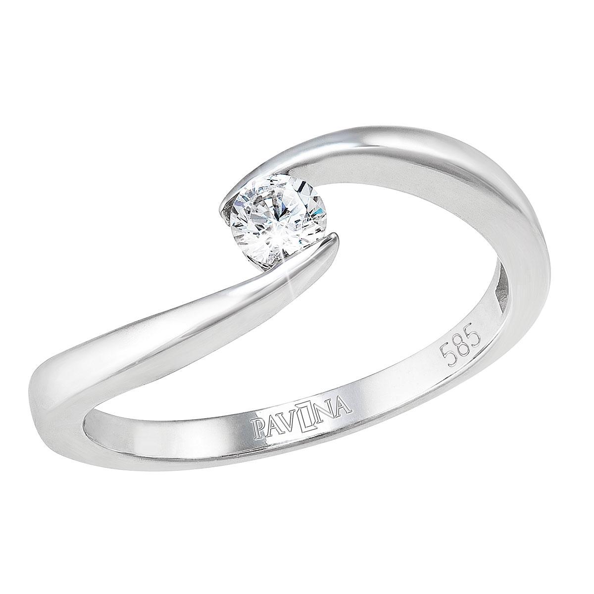 Zlatý prsten, bílé zlato s briliantem