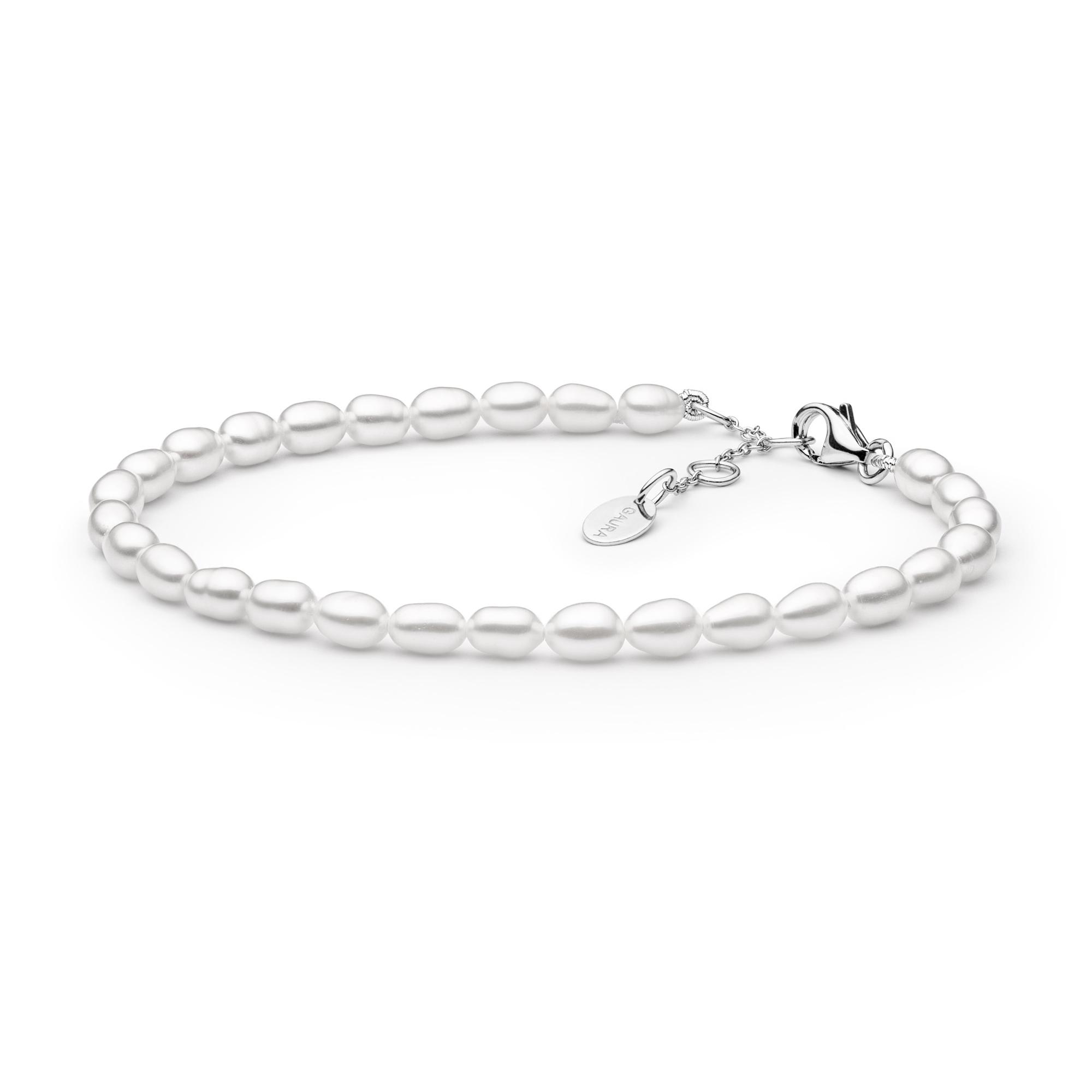 Perlový náramek z pravých říčních perel bílý GA2001-WH