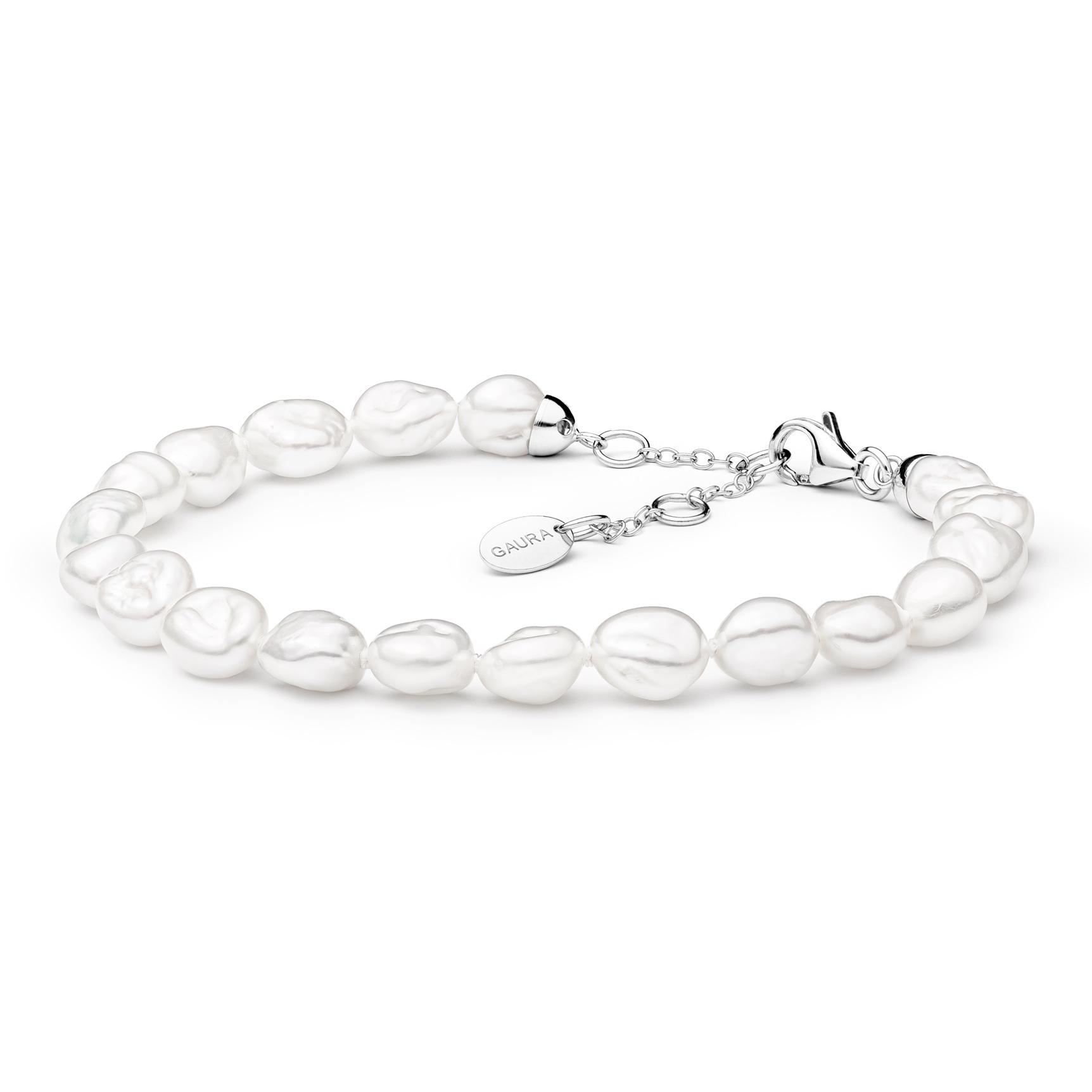 Perlový náramek z pravých říčních perel bílý GA2002-WH