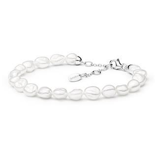 GA2002-WH Perlový náramek z pravých říčních perel bílý