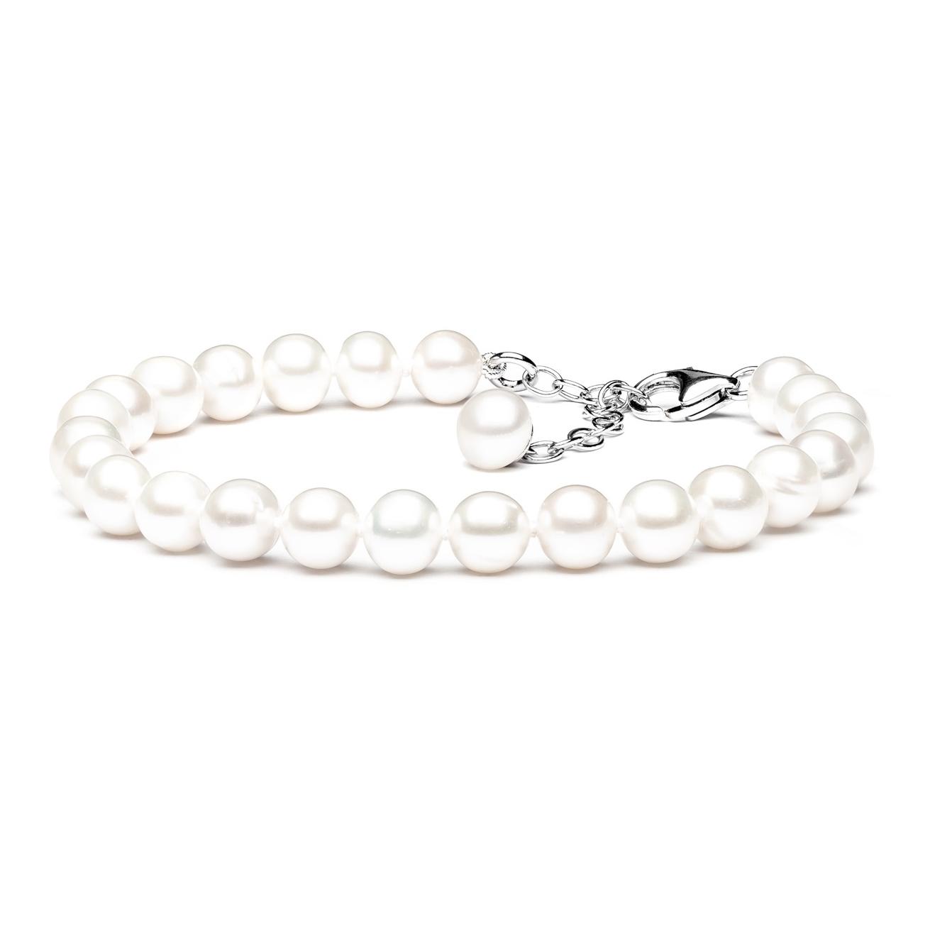 Perlový náramek z pravých říčních perel bílý GA2007-WH