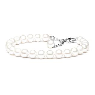 GA2007-WH Perlový náramek z pravých říčních perel bílý