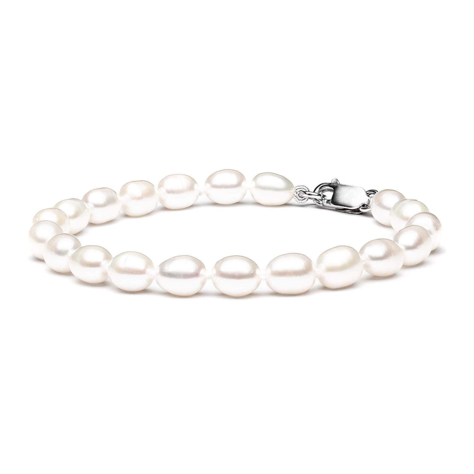 Perlový náramek z pravých říčních perel bílý GA2009-WH