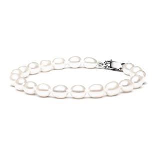 GA2009-WH Perlový náramek z pravých říčních perel bílý