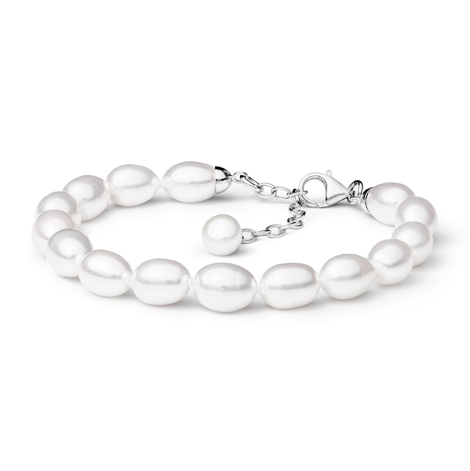 Perlový náramek z pravých říčních perel bílý GA2012-WH