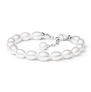 GA2012-WH Perlový náramek z pravých říčních perel bílý