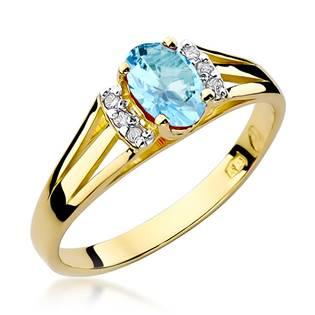 NUBIS® Zlatý prsten s diamanty a topazem, vel. 52 - velikost 52 - W-005GT-52