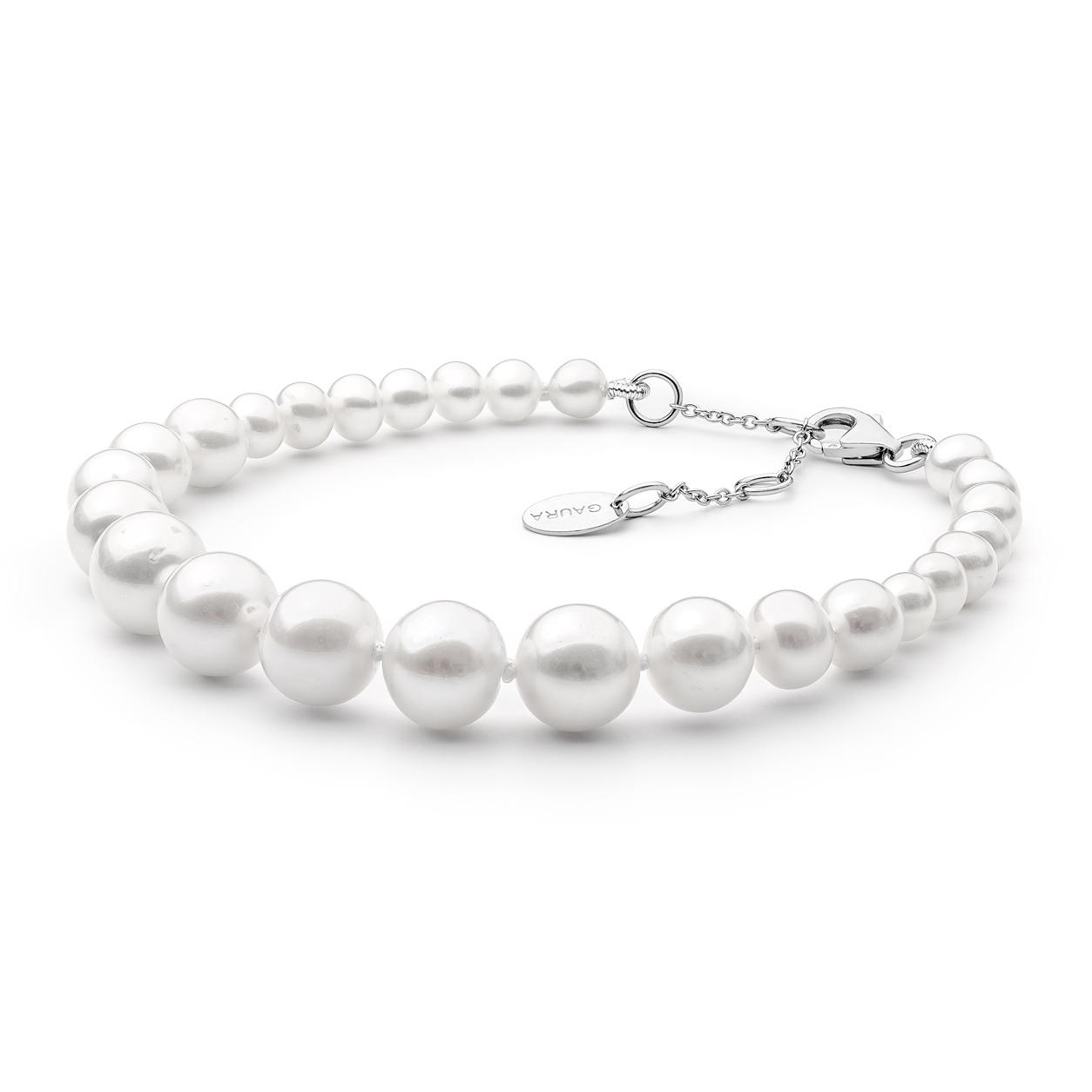 Perlový náramek z pravých říčních perel bílý GA2013-WH