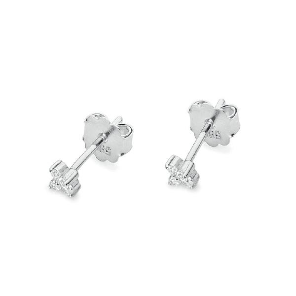 Diamantové náušnice, bílé zlato a brilianty KO-024-WG