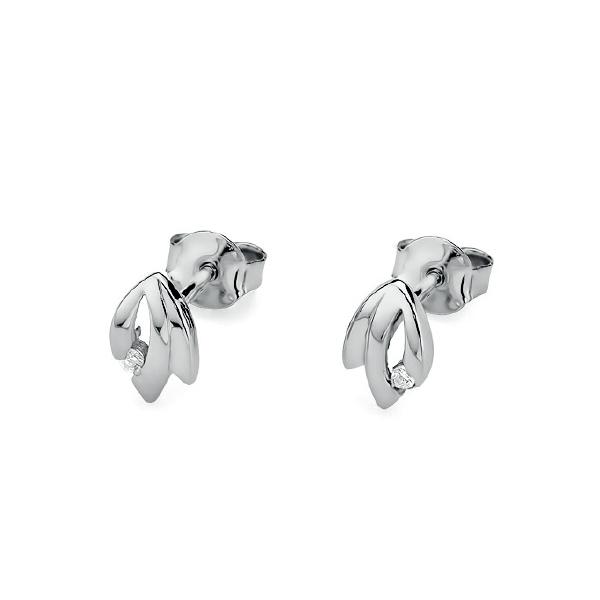 Diamantové náušnice, bílé zlato a brilianty KO-018-WG