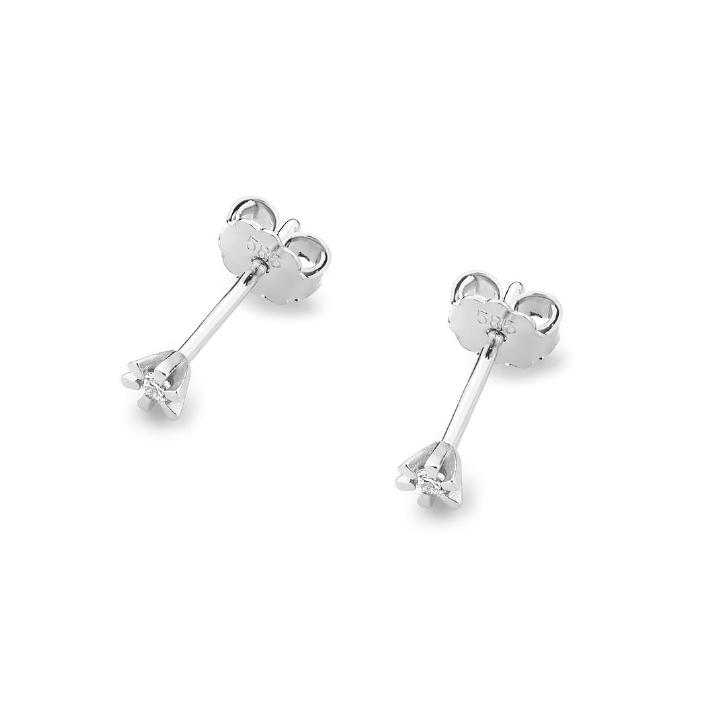 Diamantové náušnice, bílé zlato a brilianty KO-029-WG