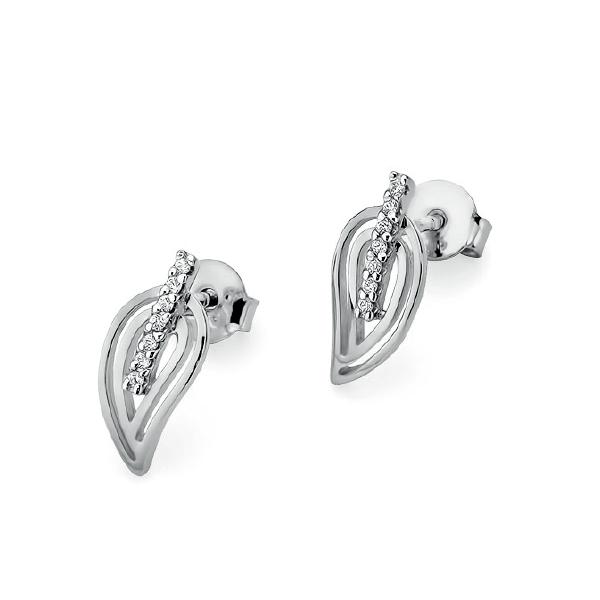 Diamantové náušnice lístky, bílé zlato a brilianty KO-007-WG
