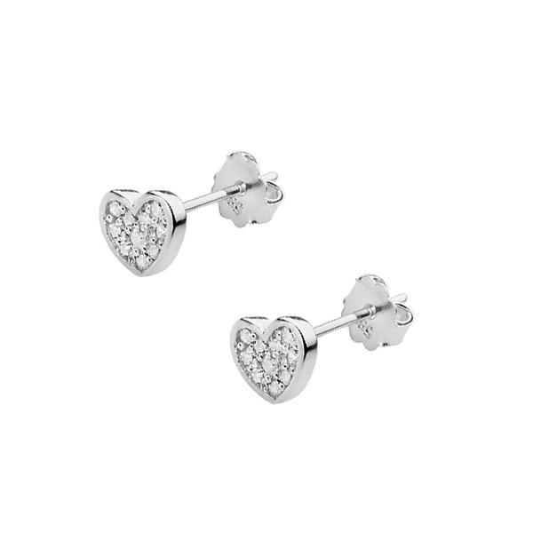 Diamantové náušnice srdíčka, bílé zlato a brilianty KO-021-WG