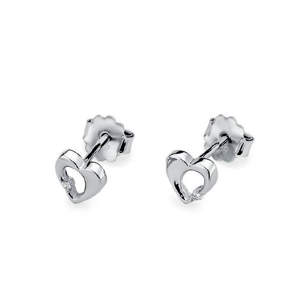 Diamantové náušnice srdíčka, bílé zlato a brilianty KO-020-WG