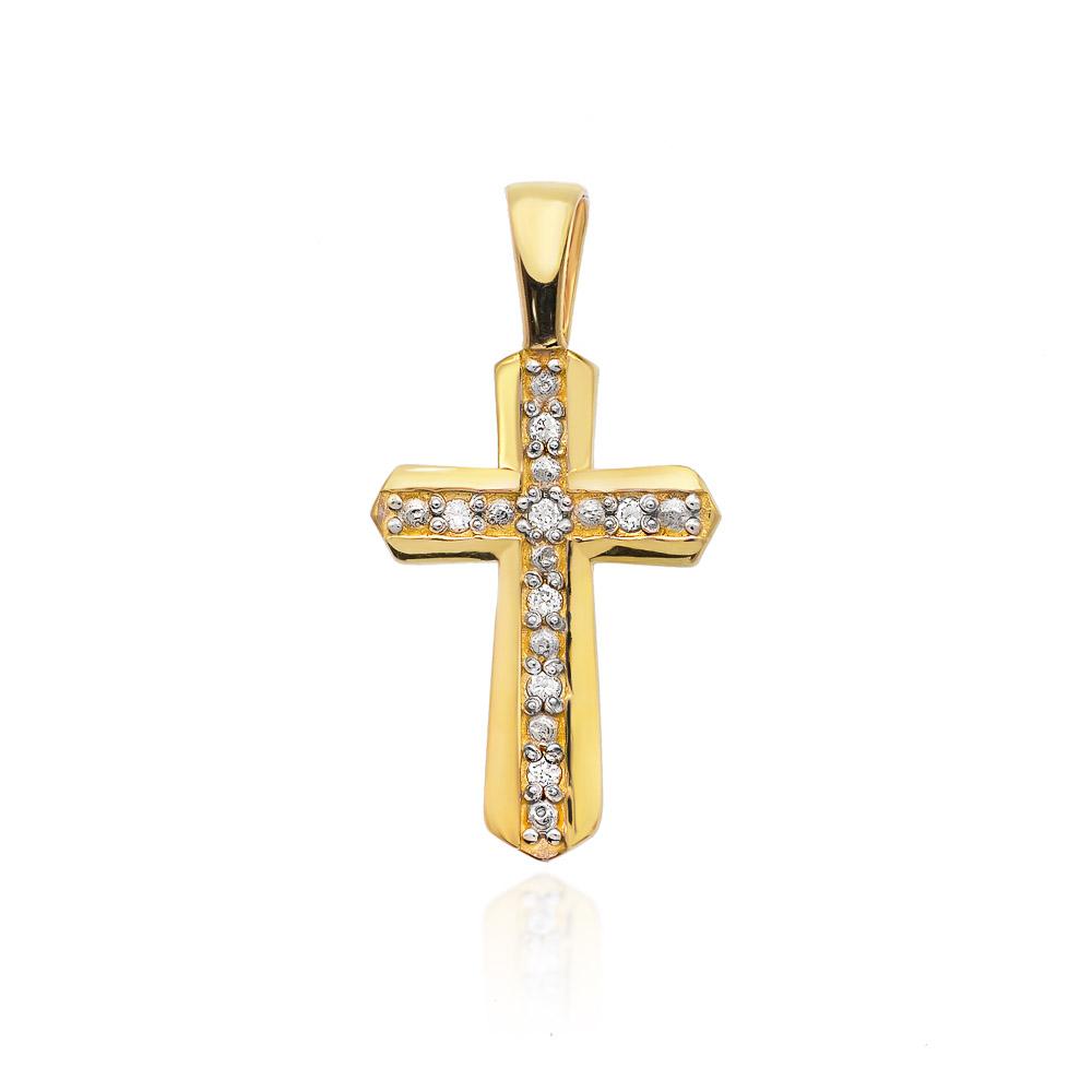 Diamantový přívěšek křížek, žluté zlato a brilianty