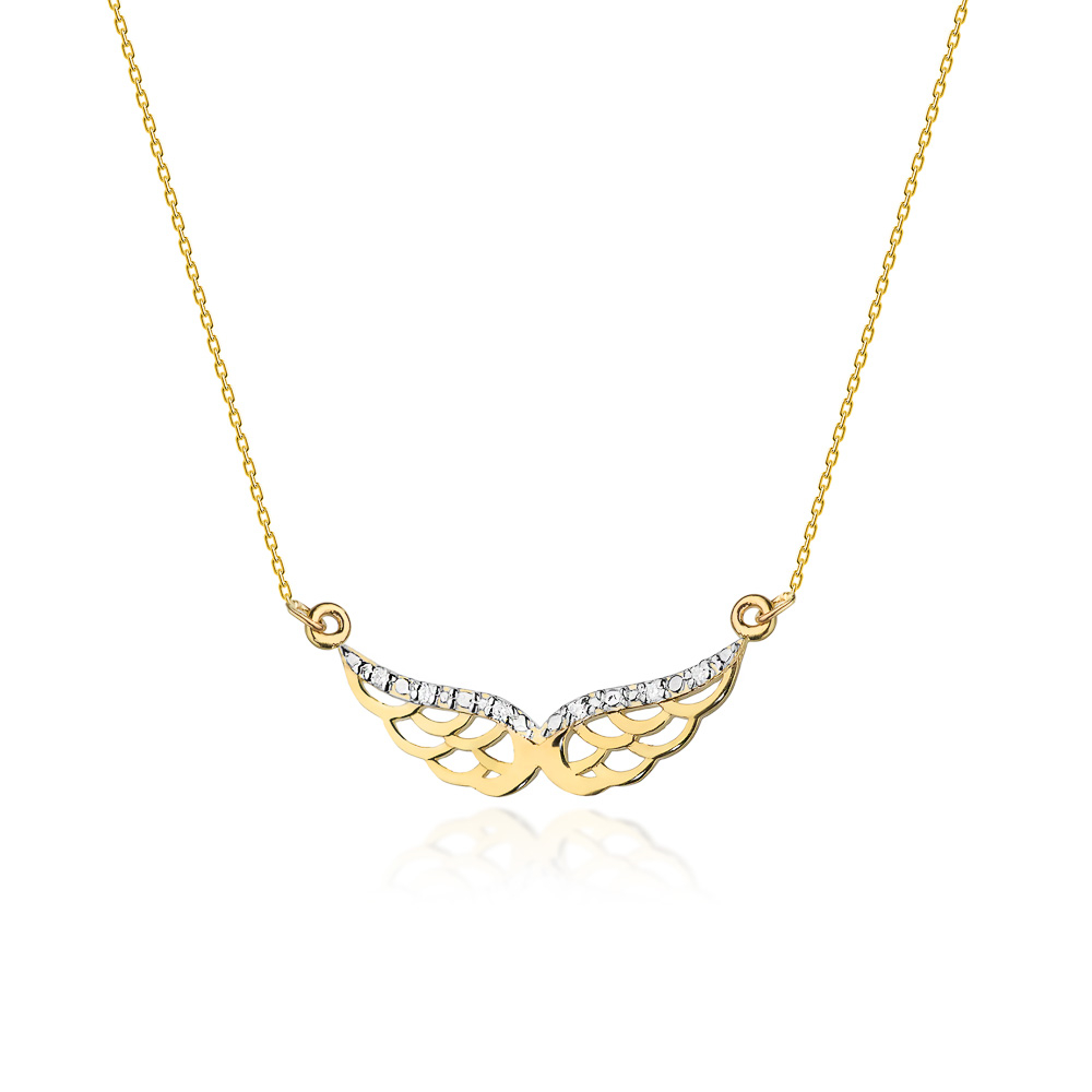 Diamantový náhrdelník andělská křídla, žluté zlato a brilianty