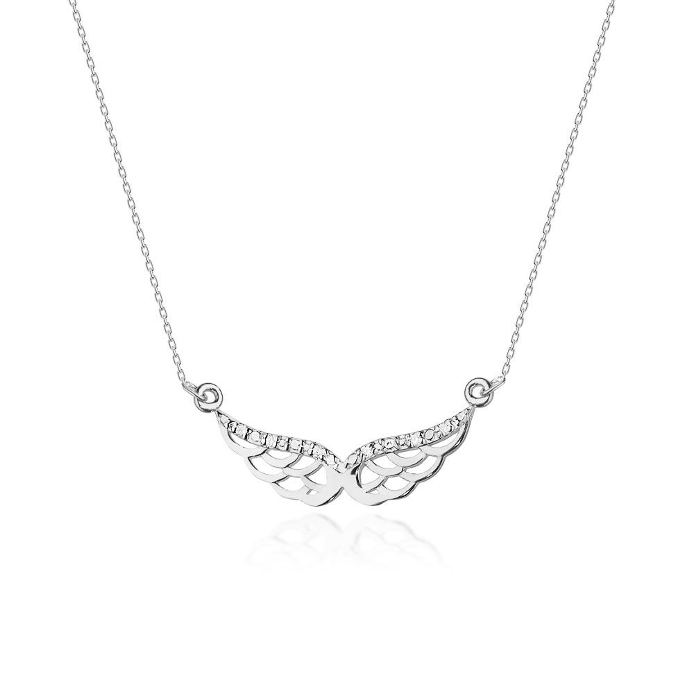 Diamantový náhrdelník andělská křídla, bílé zlato a brilianty