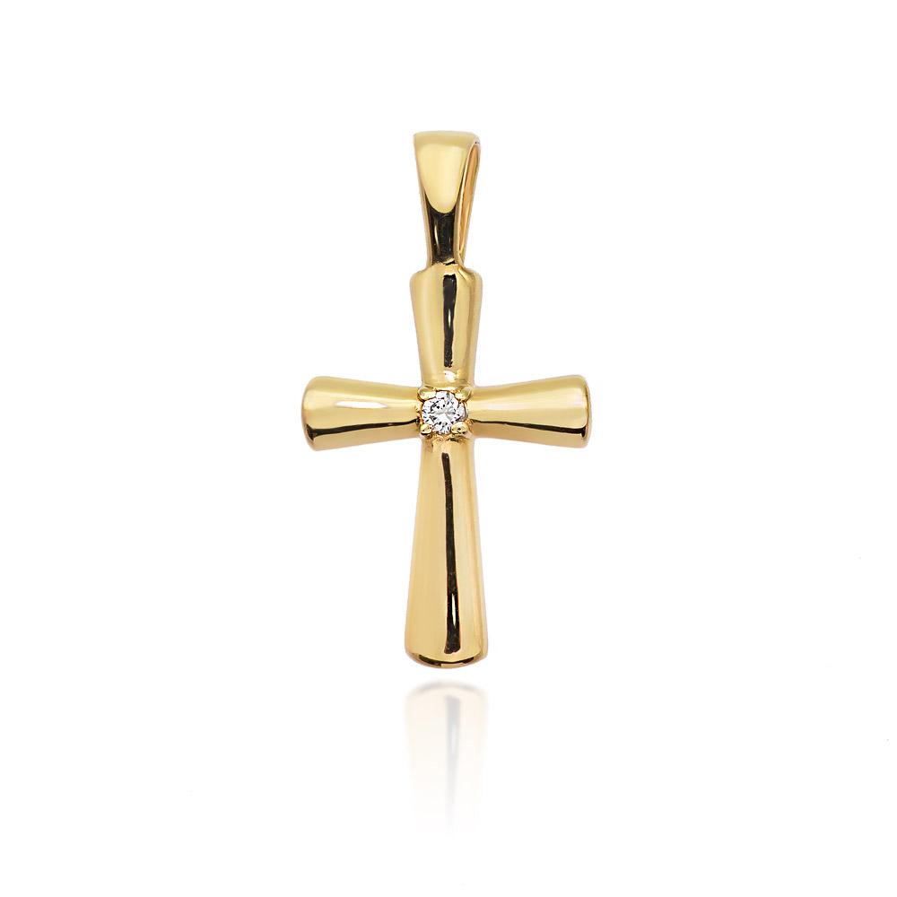 Diamantový přívěšek křížek, žluté zlato a briliant