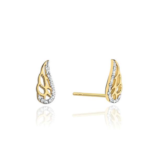 Diamantové náušnice křídla, žluté zlato a brilianty