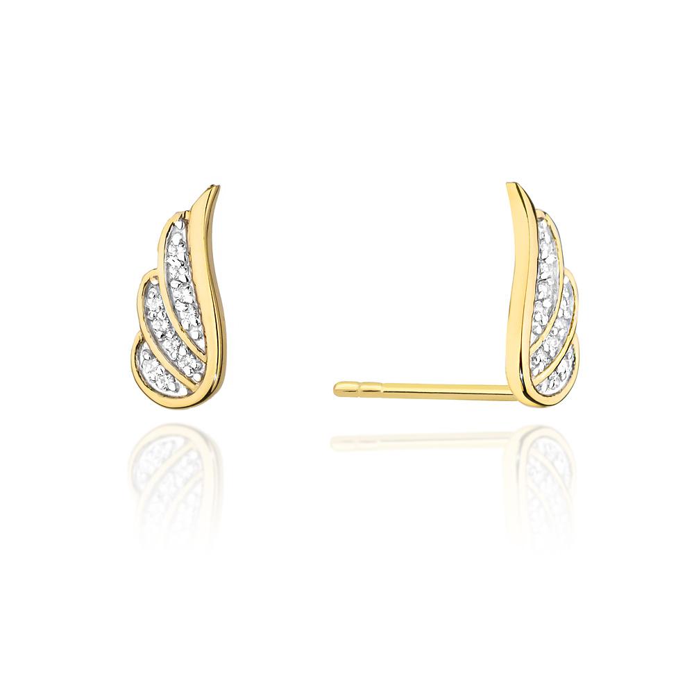 Diamantové náušnice křídla, žluté zlato a brilianty CK-002-YG