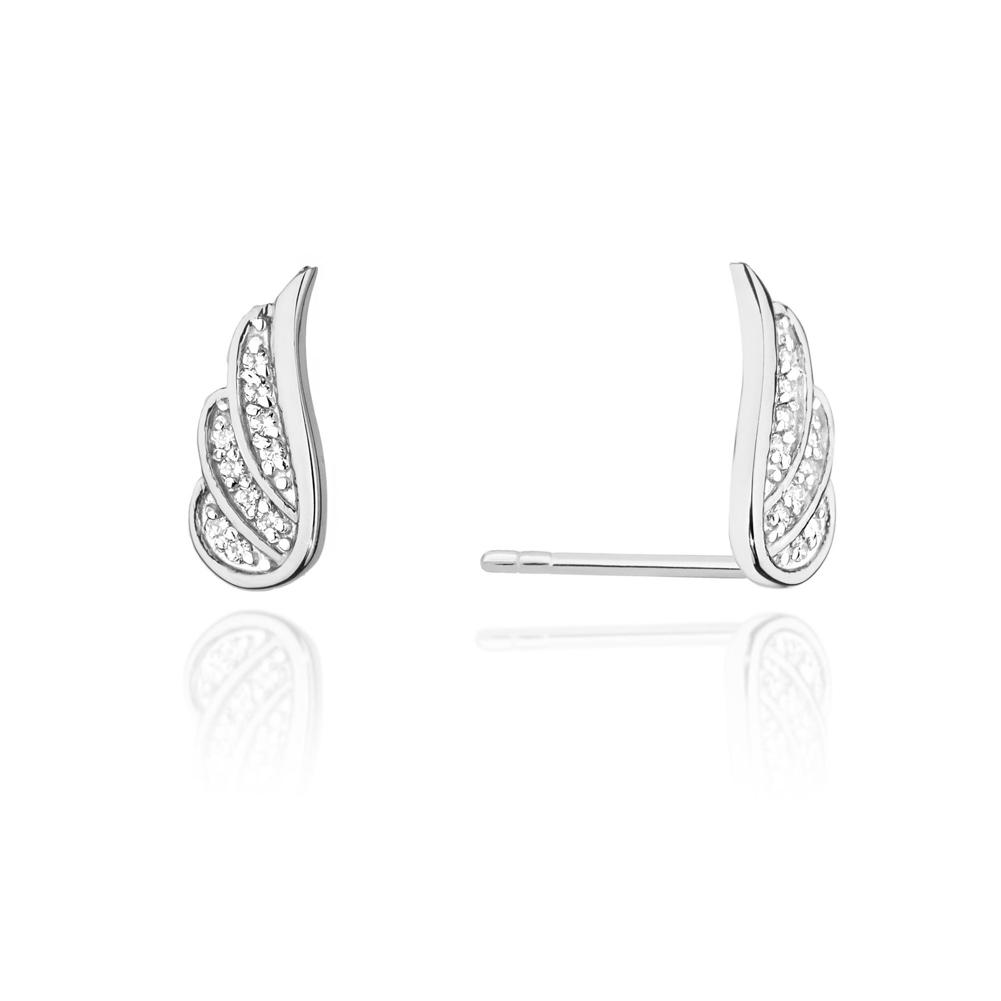 Diamantové náušnice křídla, bílé zlato a brilianty CK-002-WG
