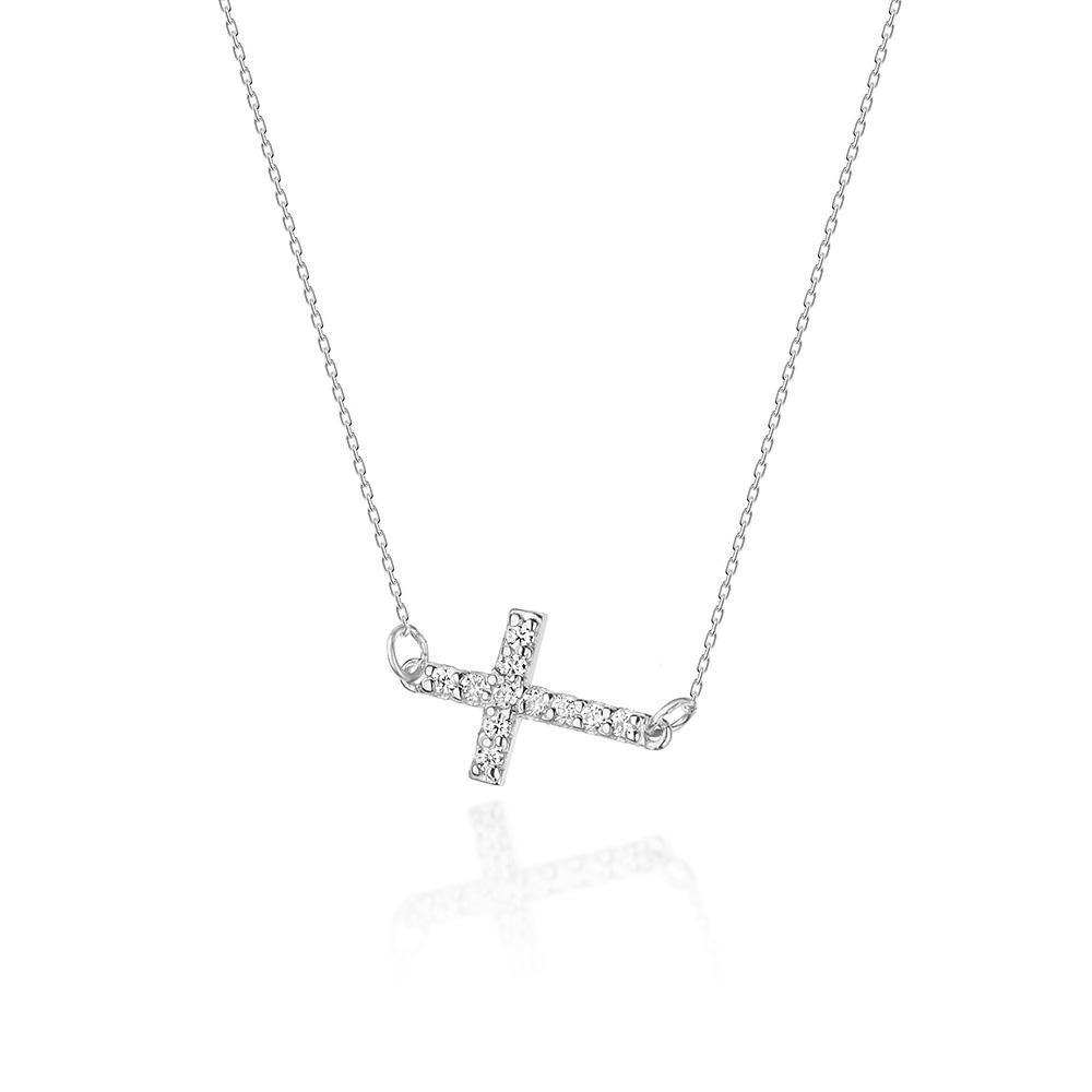 Diamantový náhrdelník křížek, bílé zlato a brilianty