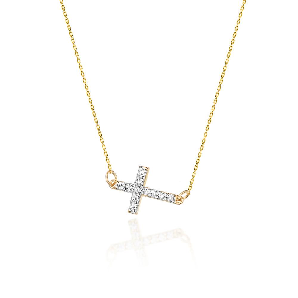 Diamantový náhrdelník křížek, žluté zlato a brilianty