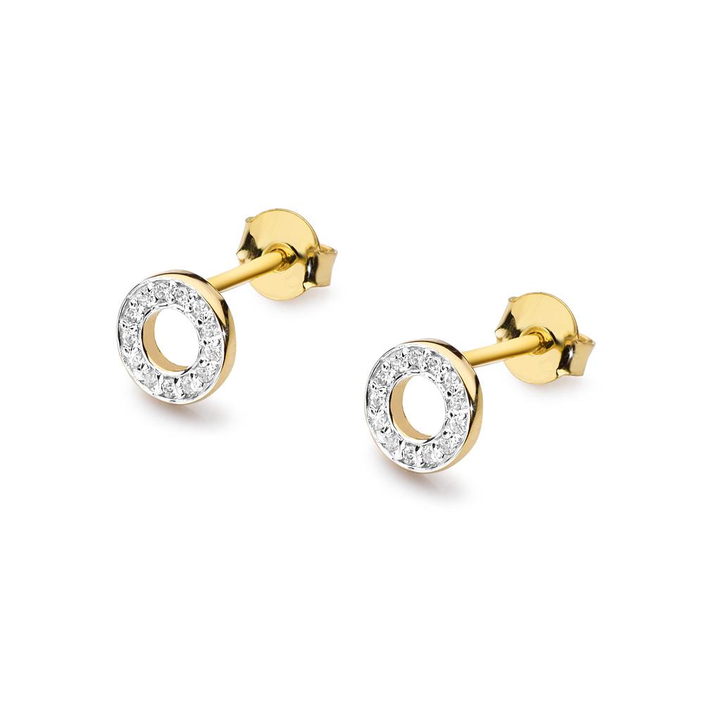 Diamantové náušnice kolečka, bílé zlato a brilianty CK-014-YG
