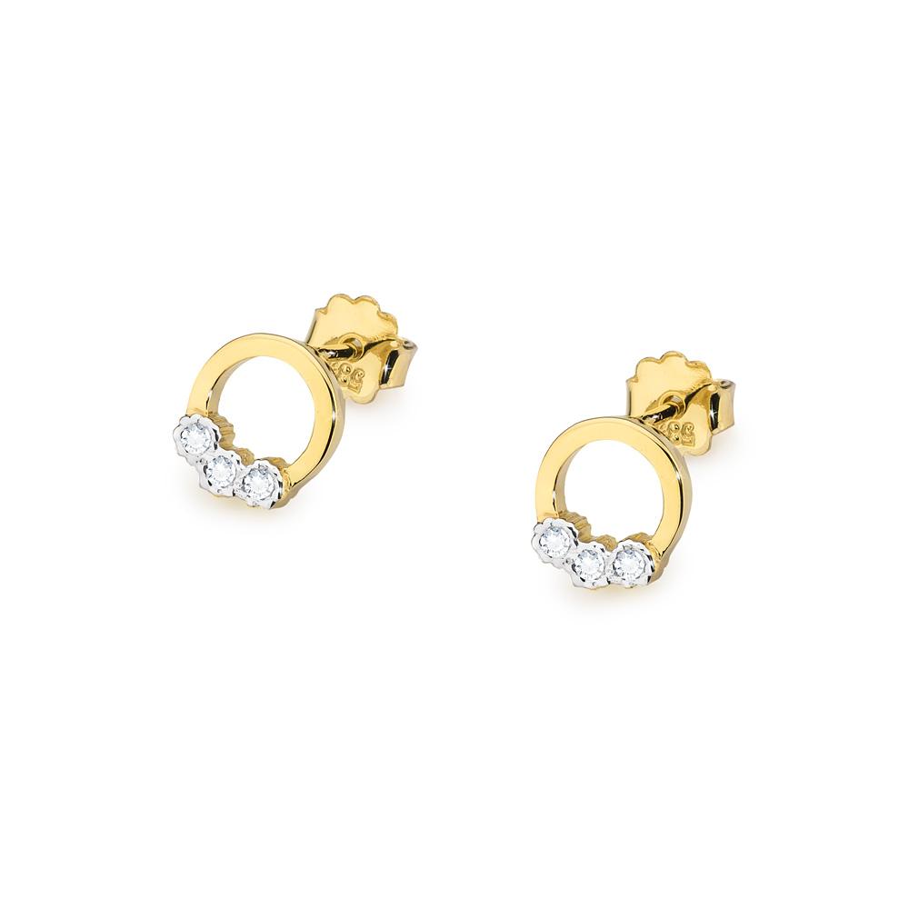 Diamantové náušnice kolečka, žluté zlato a brilianty