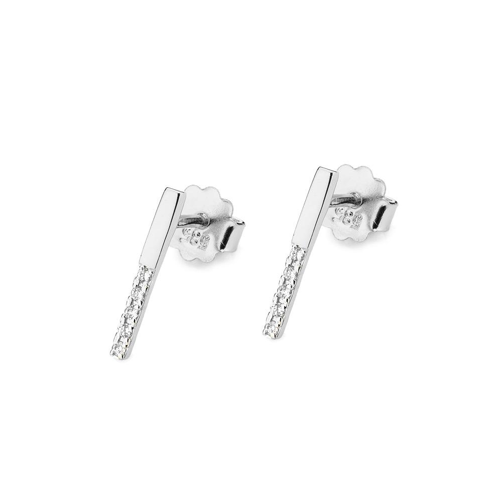 Diamantové náušnice kolečka, bílé zlato a brilianty CK-029-WG