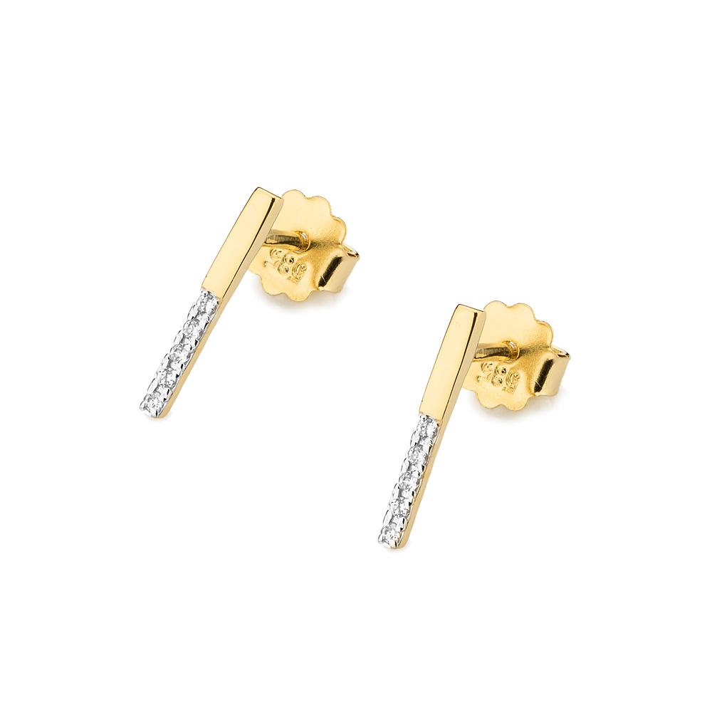 Diamantové náušnice kolečka, bílé zlato a brilianty CK-029-YG