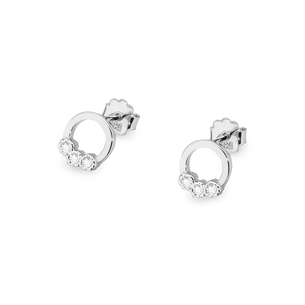 Diamantové náušnice kolečka, bílé zlato a brilianty CK-020-WG
