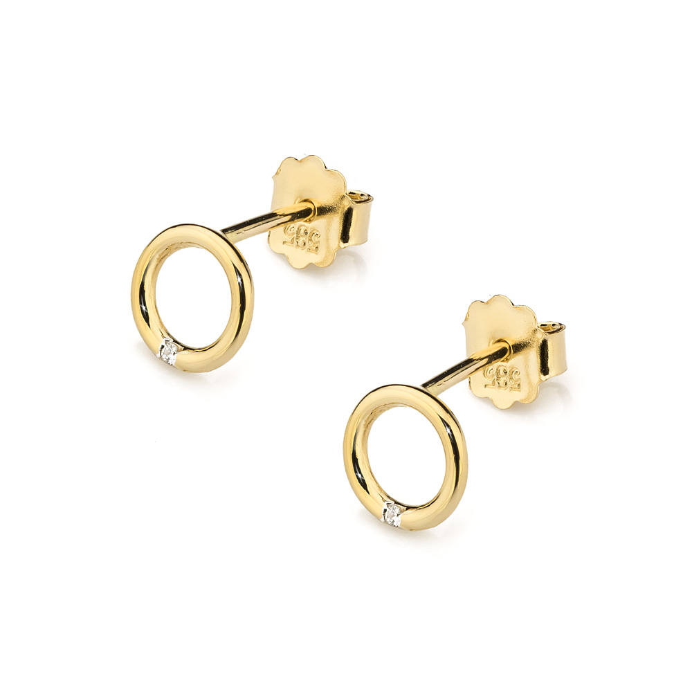 Diamantové náušnice kolečka, žluté zlato a briliant CK-028-YG