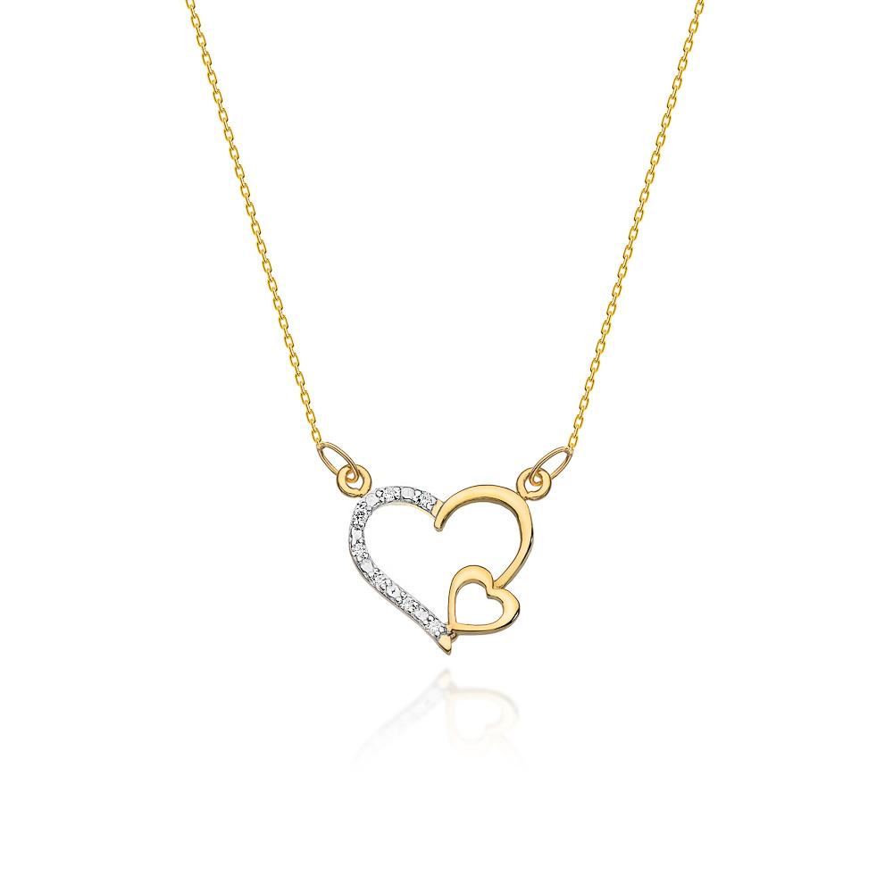 Diamantový náhrdelník srdíčko, žluté a bílé zlato a brilianty