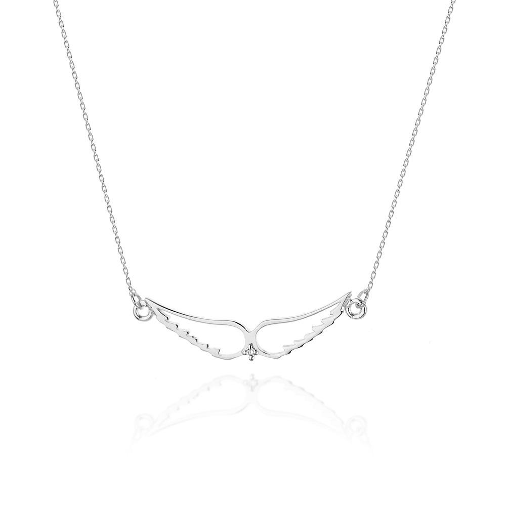 Diamantový náhrdelník andělská křídla, bílé zlato a briliant