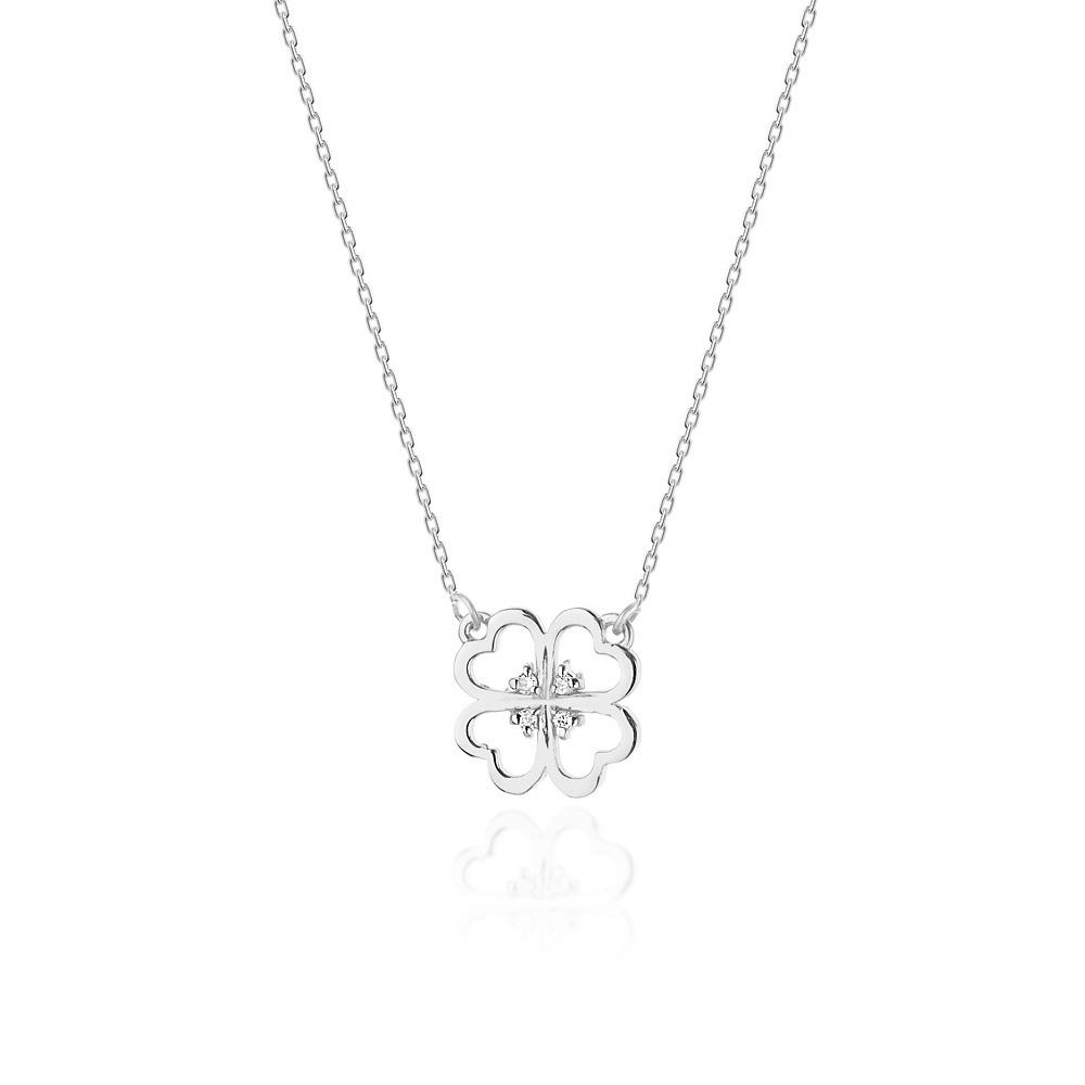 Diamantový náhrdelník čtyřlístek, bílé zlato a brilianty
