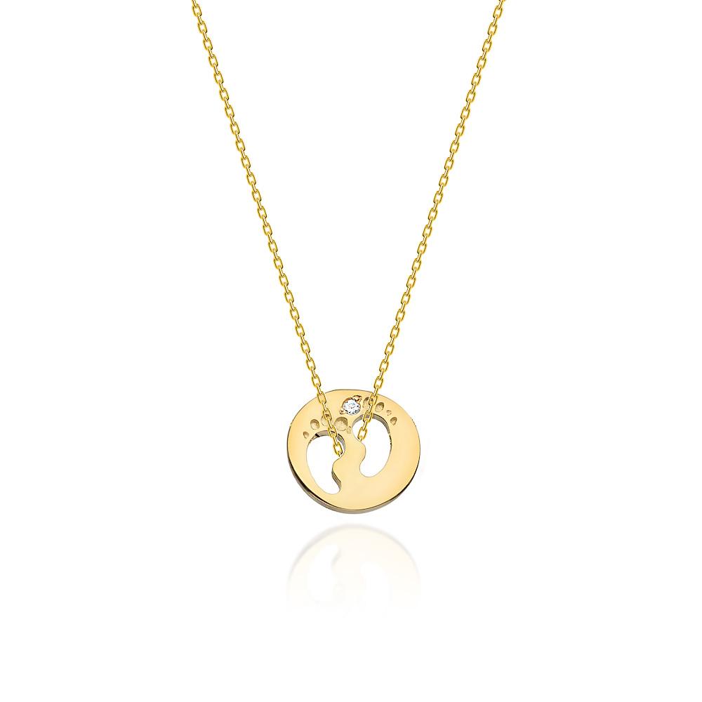 Diamantový náhrdelník dětské stopy, žluté zlato a briliant