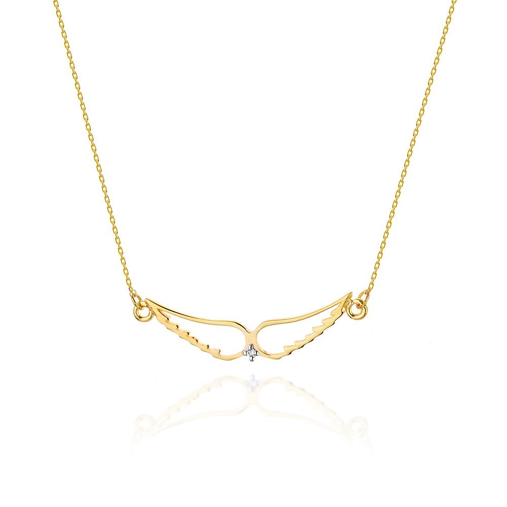 Diamantový náhrdelník andělská křídla, žluté zlato a briliant