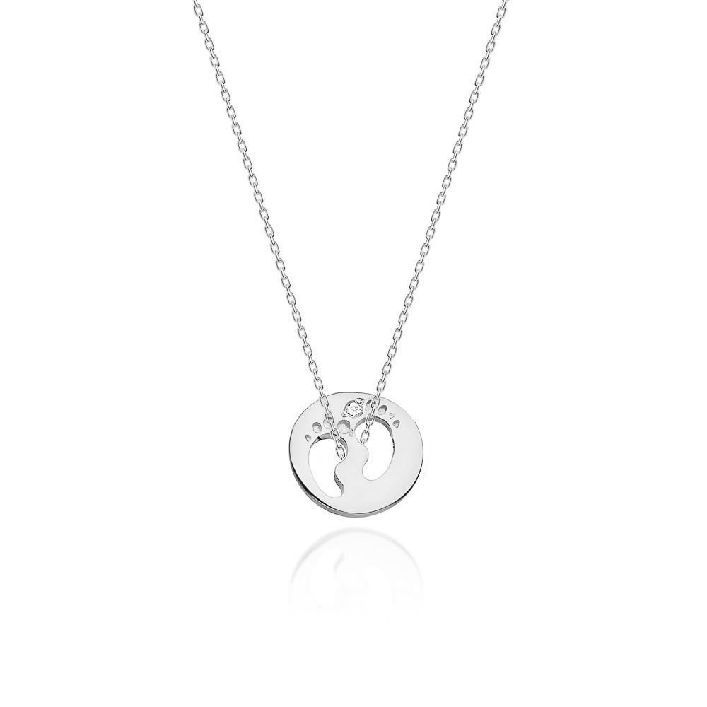 Diamantový náhrdelník dětské stopy, bílé zlato a briliant
