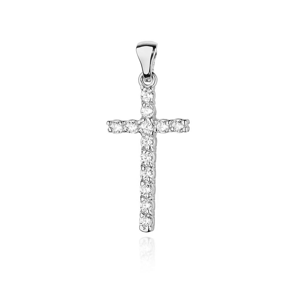 Diamantový přívěšek křížek, bílé zlato a brilianty