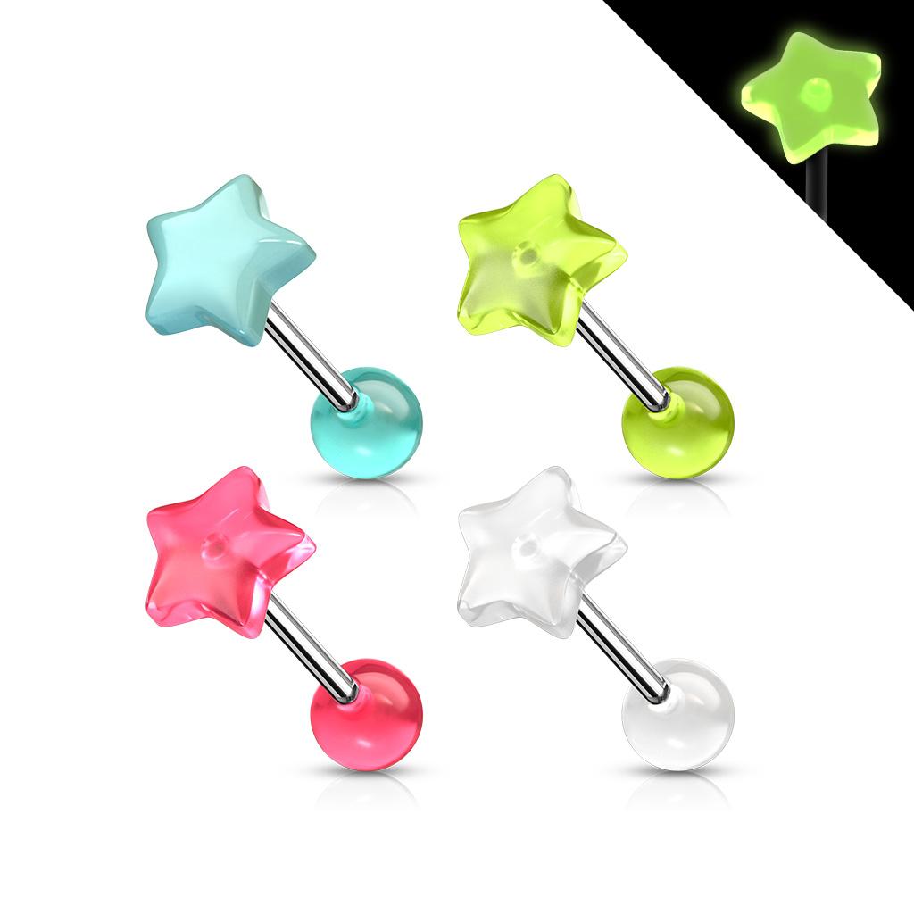 Svítící piercing do jazyku - hvězdička
