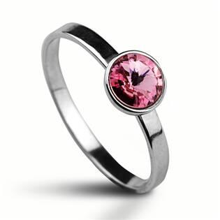 Stříbrný prsten s kamenem Crystals from Swarovski®, barva: LIGHT ROSE
