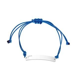 Modrý textilní náramek - destička se srdíčkem
