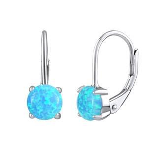 NB-3385-OP26 Stříbrné náušnice se světle modrým opálem