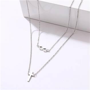 OPD0252-ST Dvojitý ocelový náhrdelník - křížek a nekonečno