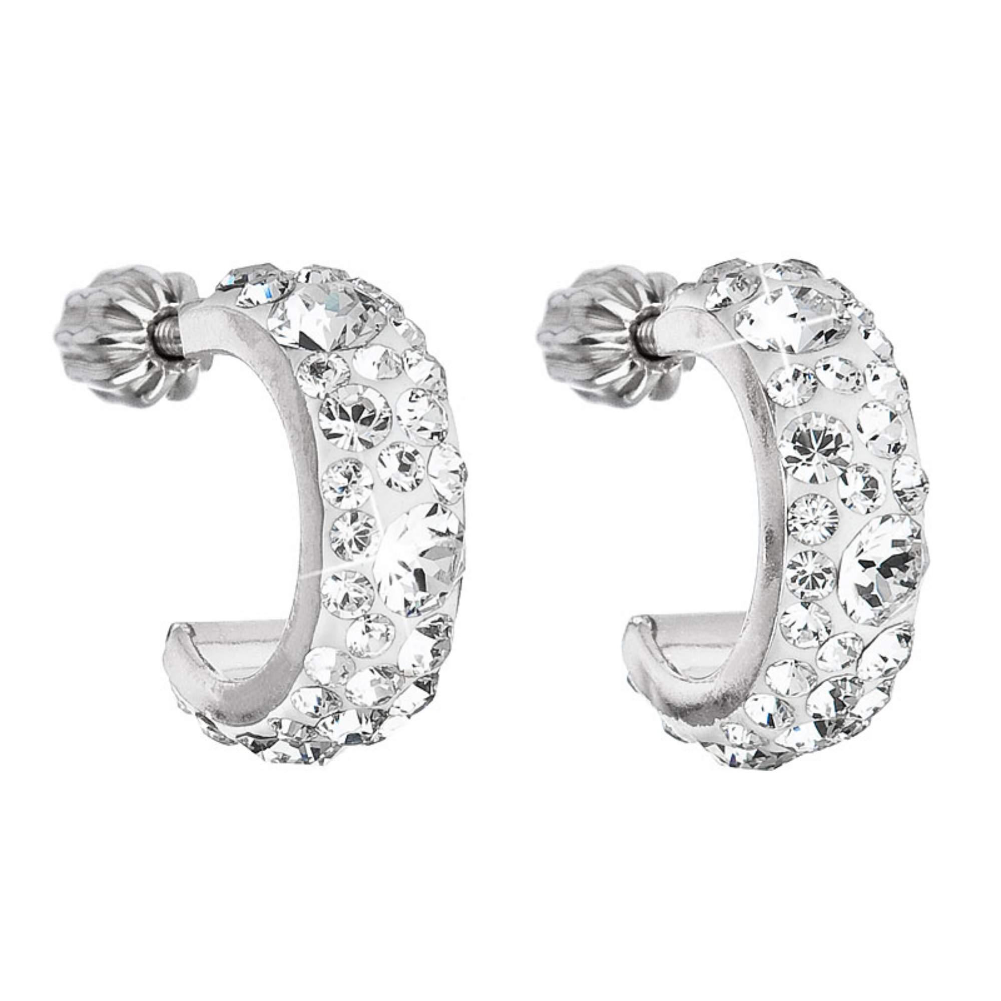 Stříbrné náušnice kruhy s krystaly Crystals from Swarovski® Crystal EG2031-CR