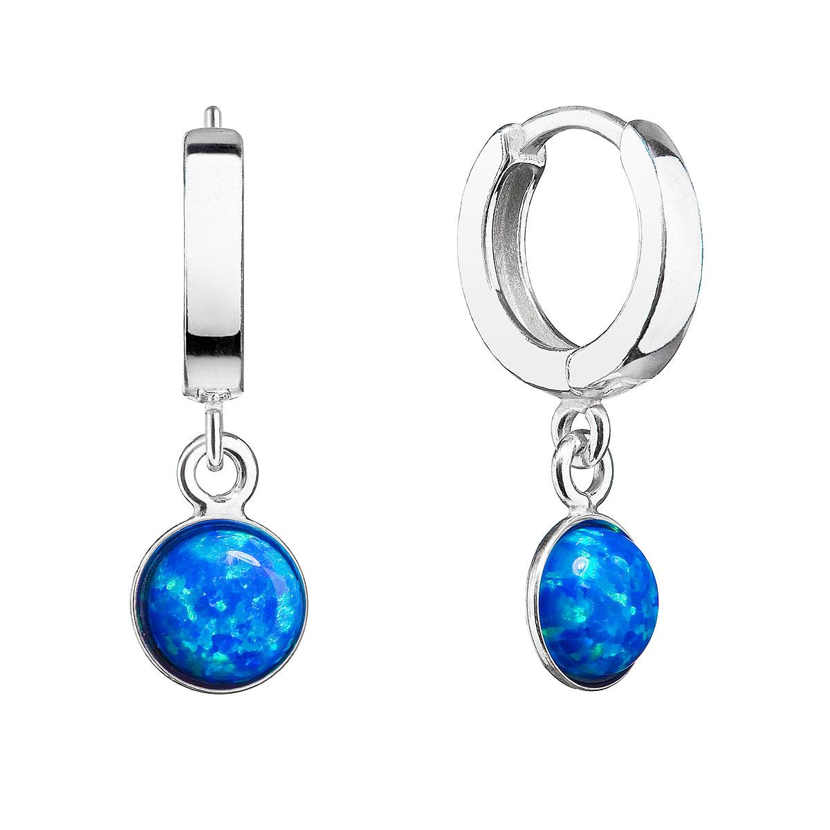 Stříbrné náušnice kruhy s modrým syntetickým opálem EG2889-OP05