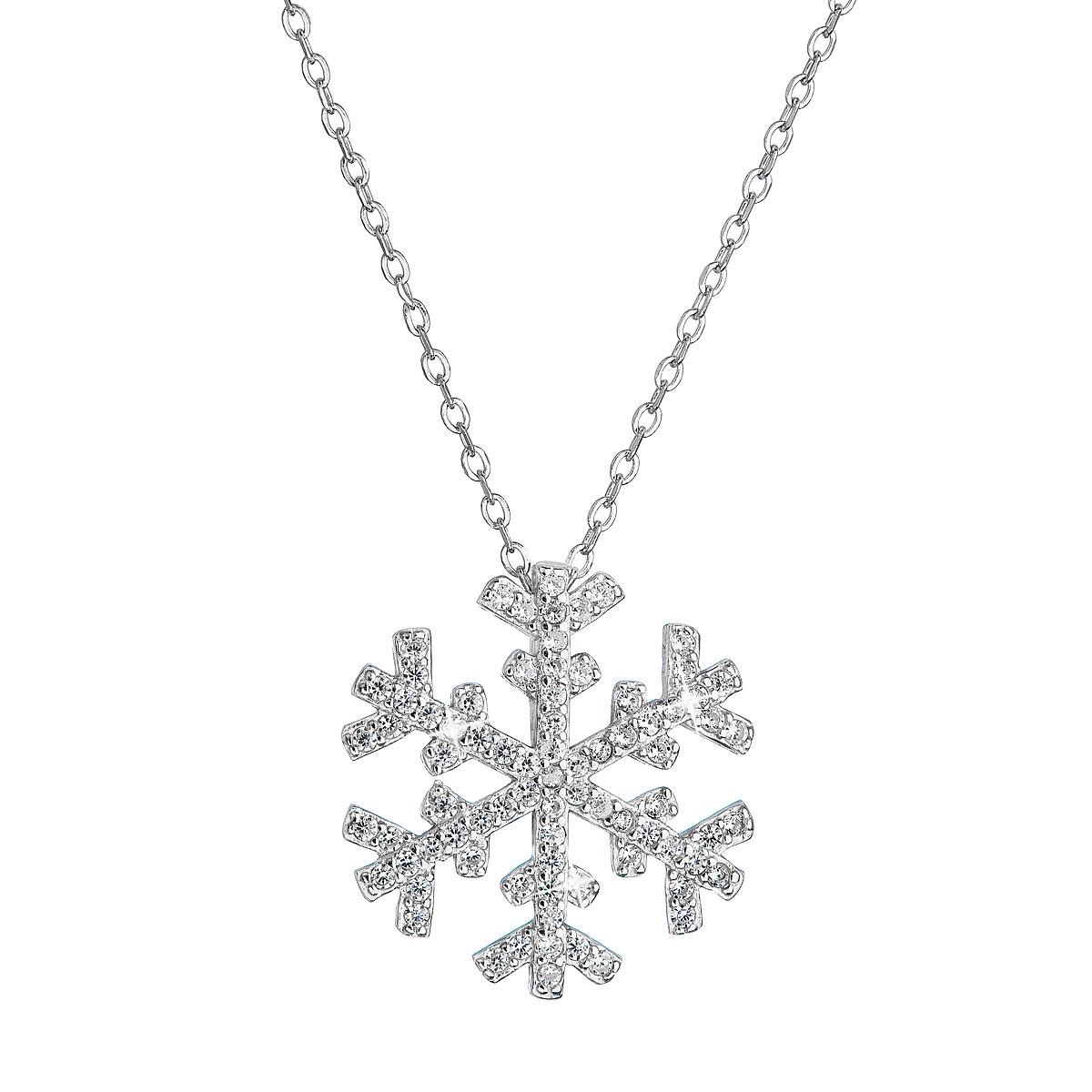 Stříbrný náhrdelník se zirkony sněhová vločka EG4263