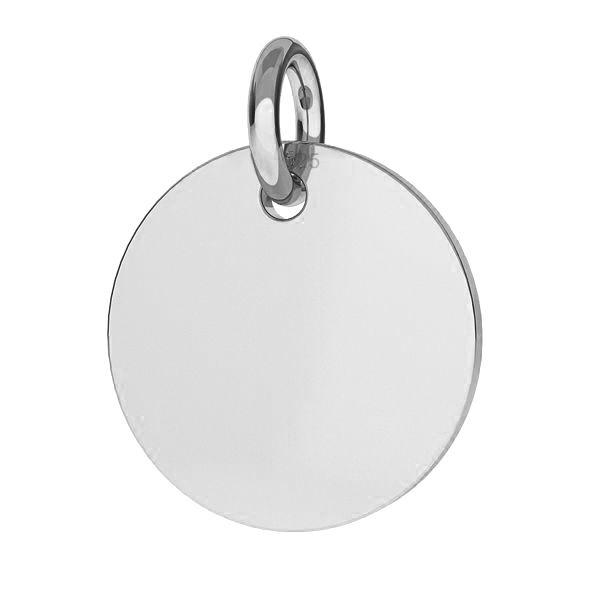 Stříbrný přívěšek destička kulatá 15 mm