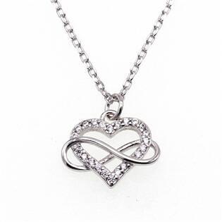 NB-2190 Střibrný náhrdelník srdce s nekonečnem